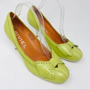 Anthropologie Biviel Lime Green Retro Pumps Heels